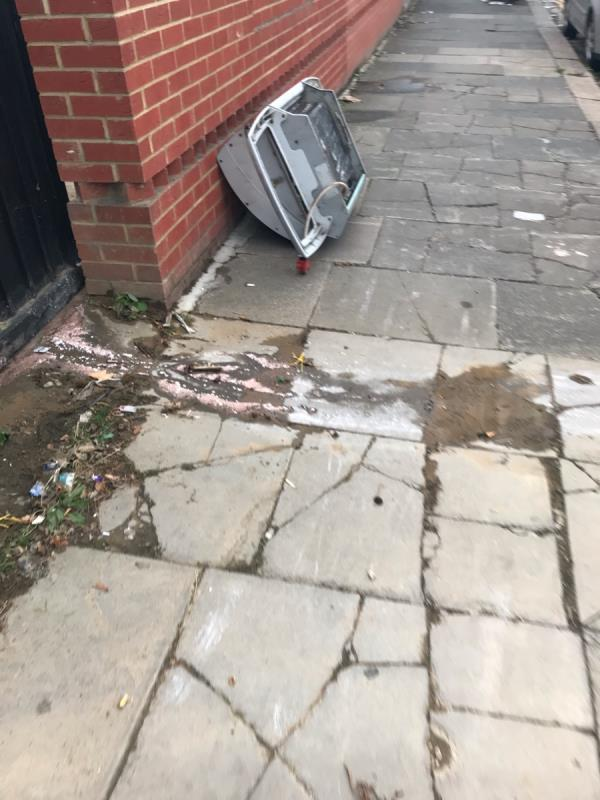 Fly tipped metal is located on Croyde Avenue junction Oldfield Lane South ub6 -21 Croyde Avenue, London, UB6 9LS