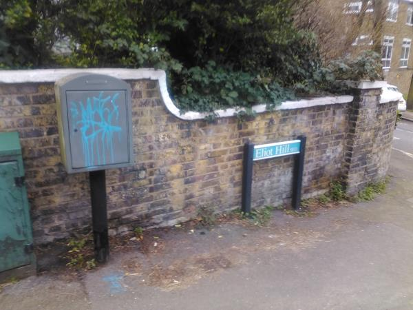 Graffiti in on the grey telecommunications box that's on Lewisham Hill, near where the road turns into Eliot Hill.-51l Lewisham Hill, Lewisham, SE13 7EB