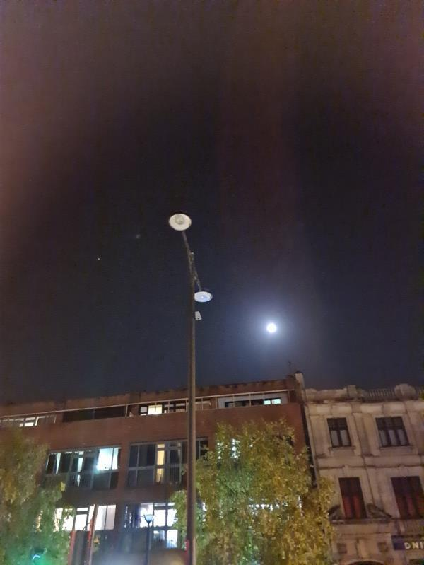 At the junction of Romford Road and Woodgrange Road. Island opposite Ladbroke Bookies. Two standard lamp out -327 Romford Road, London, E7 9HA