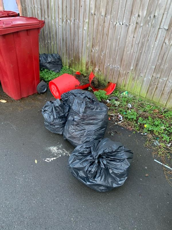More fly tipping down the back and side of my house.  image 1-8 Don Cl, Reading RG30 4YL, UK