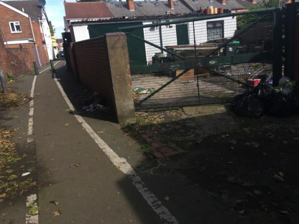 Stinking dumped rubbish. Food waste spilling out. -36 Sherwood St, Wolverhampton WV1 4RQ, UK