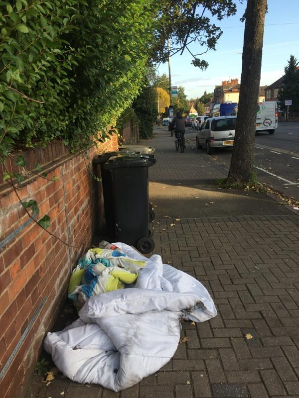 Fly tipping on the pavement outside flats next door  to Aylestone House Dental Practice -359 Aylestone Rd, Leicester LE2 8TA, UK