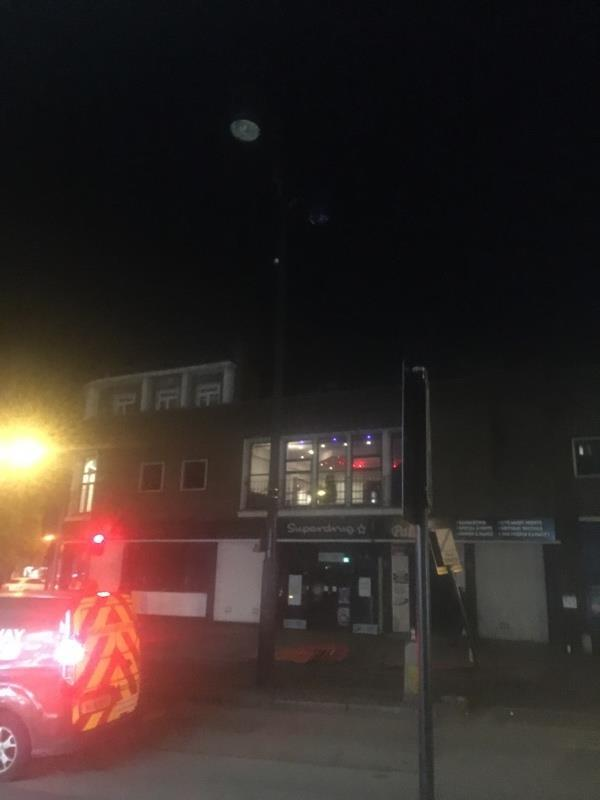 2 lights still out at crossing outside iceland -Forest Gate Library 6-8 Woodgrange Road, London, E7 0QH