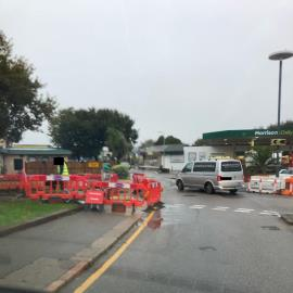 Considering the strict new code of practice on road works guarding geomarine  Have sent pedestrians onto the middle of the road. There isn't a banks-man on site there are no ramps and there are no signs on approach.-Five Oaks Parade, Bagatelle Road, St. Saviour, Jersey,