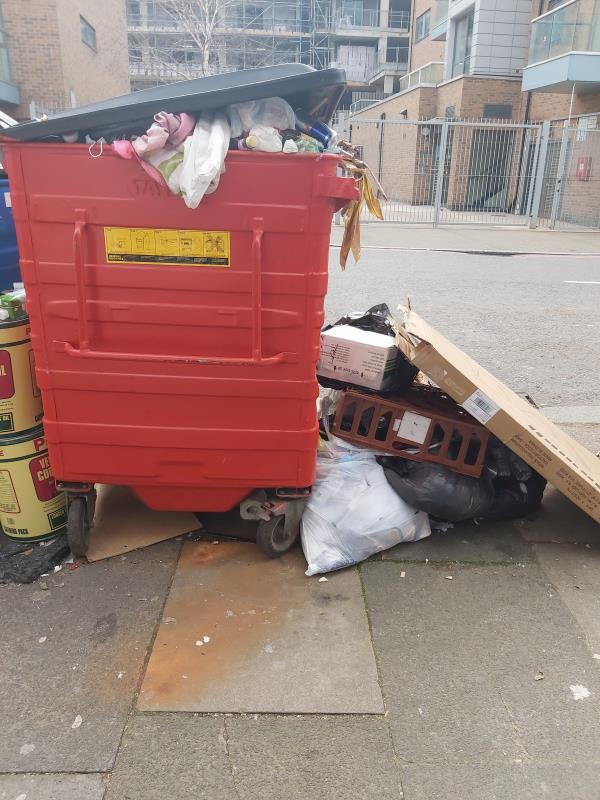 This bin has been left here by previous owner since last year summer. Noone has come to collect and it is affecting my food business. Please help me with this matter. People have been using this an opportunity to dump other rubbish here. It is becoming extremely depressing for me as a small business owner. -3A George Ln, London SE13 6HQ, UK