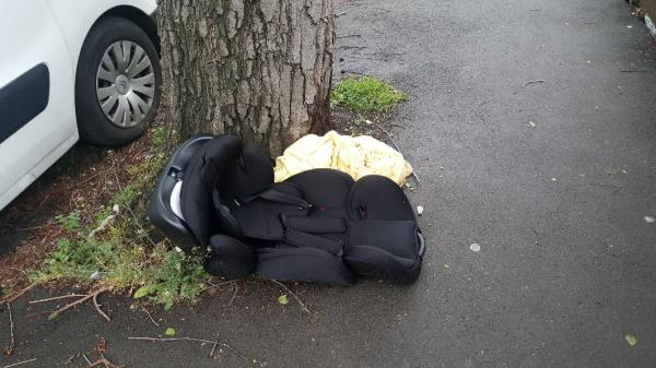 Car seat and blanket on the pavement -3 Fermor Road, London, SE23 2HW