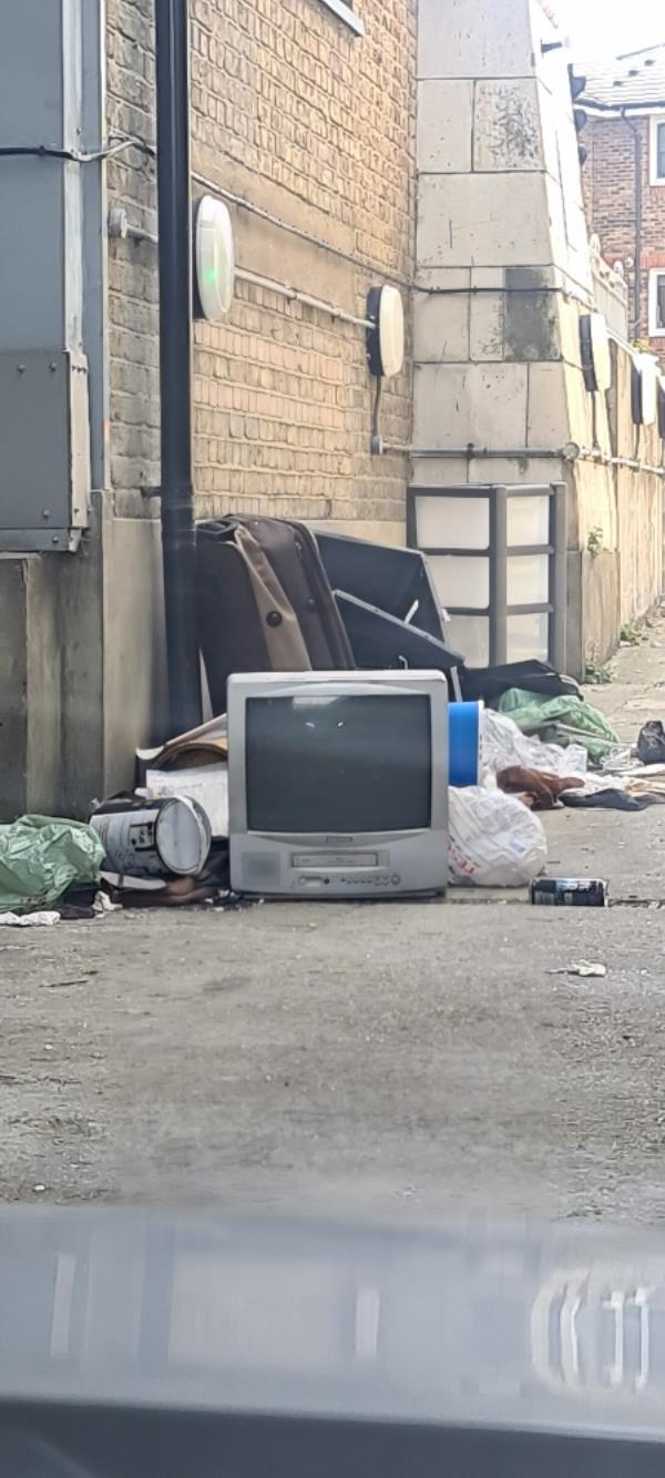flytipping by Pegasus House bin area/ car park exit.-91a Greengate Street, London, E13 9BG