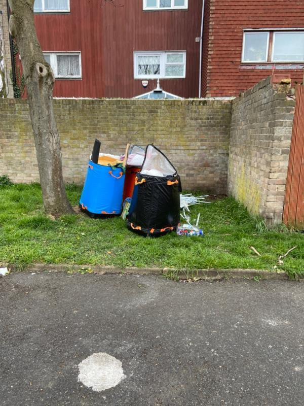 Rubbish dumped behind my house. First they tried using my skip, I confronted them and they left it behind my house, at 44 Amity Road, E15 4AT-44 AMITY, London, E15 4AT