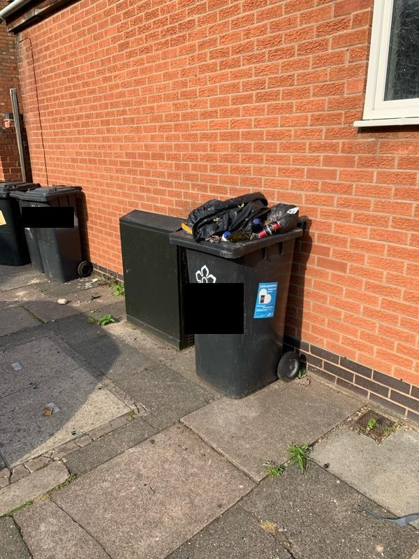 Why is this bon never collected / emptied? It never moves either?-277 Clarendon Park Road, Leicester, LE2 3AQ