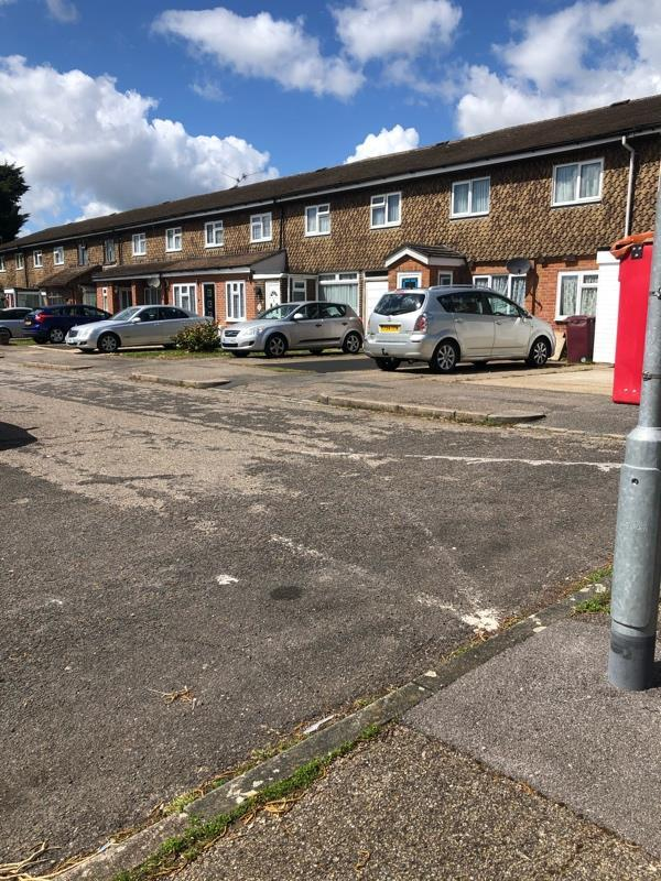 Emergency vehicle WHITE X ex for the parking box is entirely gone. Can this be re-painted ASAP?-15 Morpeth Close, Reading, RG2 7UH