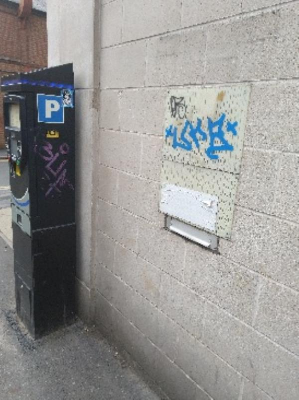 graffiti near Chatham Street side of Job Centre-The Black Boy, 31-35 Albion Street, Leicester, LE1 6DS