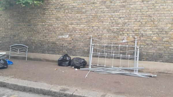Bed frame dumped in Ashford Road, side of 82 Southend Road-82 Southend Road, London, E6 2AN