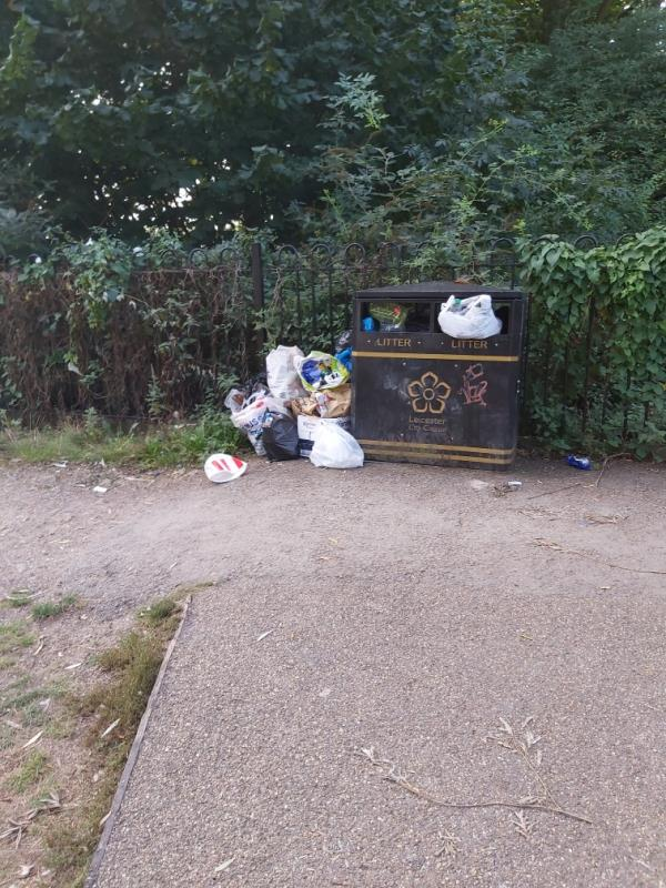 Litter bins in this area overflowing not just this one, rubbish in the locks and on the weir. Street drinkers sitting on the locks leaving rubbish around area is a mess -89 Charles Bennion Walk, Leicester, LE4 5HU
