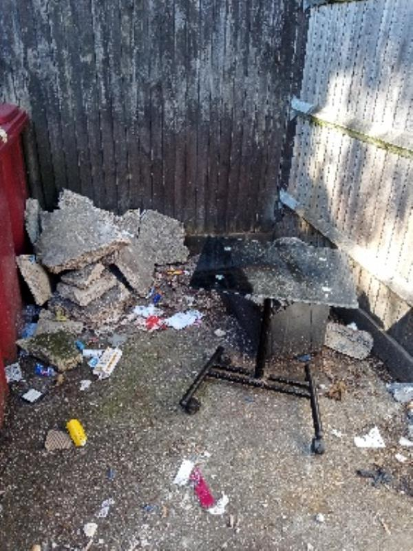 please remove fly tipping bin store 2-8 Coley  Place-3 Field Road, Reading, RG1 6AP