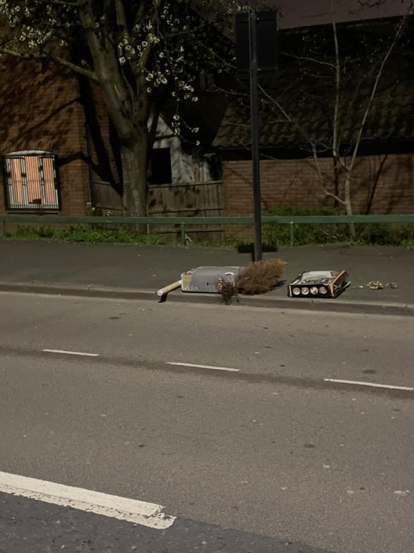 Dumped trees and boxes at Road side-7 TEAL, Canning Town, E6 5ST