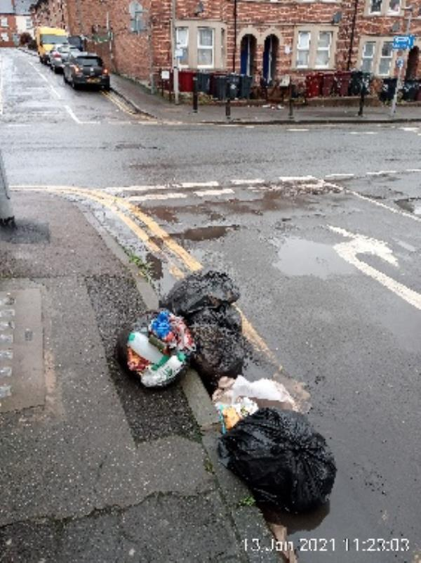 Bags of rubbish on the road. Upper Crown Street. Have stickered please clear. -109 Southampton Street, Reading, RG1 2SS