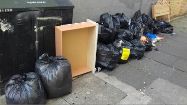 Several bags of household wastes, drawer, and a headboard dumped near 53 Perth Road -51 Perth Road, London, E13 9DS