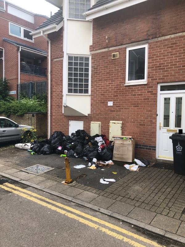 Large amount of black bin bags dumped in front of house  Grisedale Close-4 Grisedale Close, Leicester, LE2 7HG