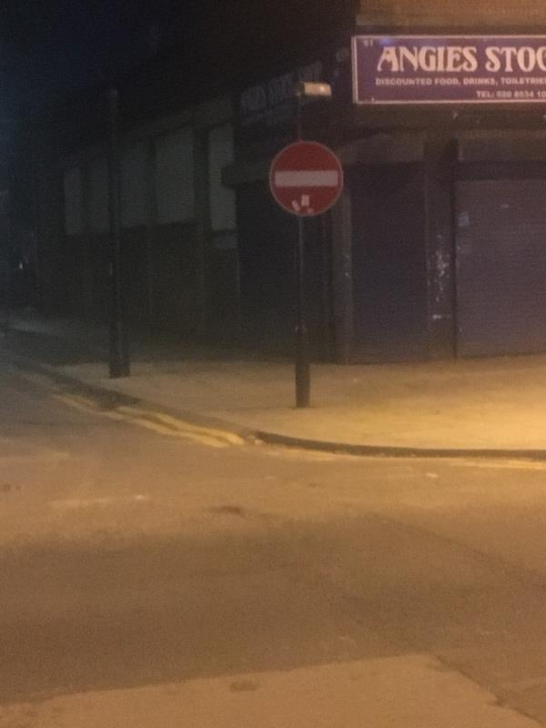 No entry sign still out earlham grove-46 Woodgrange Road, London, E7 0QH