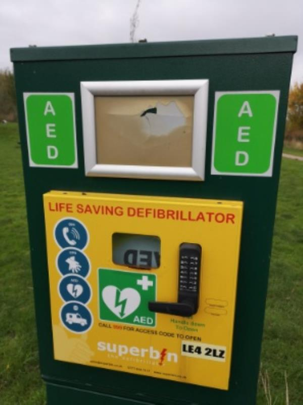 additional notes and signage damaged missing from defibrillator panel in bennion pools off redfern rd end-62 Durban Road, Leicester, LE4 2LZ