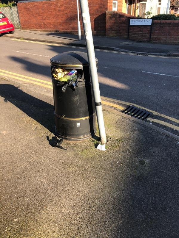Overflowing bin-137 Waverley Road, Reading, RG30 2QD