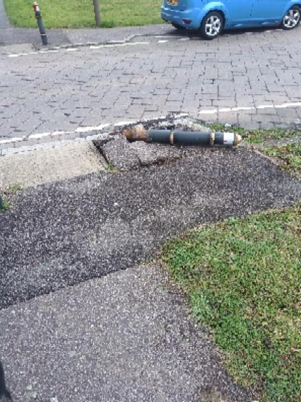 bollard has been knocked over-28 Hamilton Circle, Hamilton, LE5 1UT