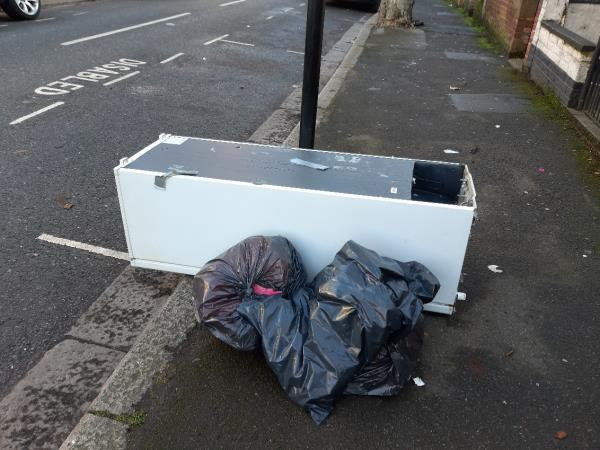 Fridge dumped outside 138/140 Grangewood Street.-138 Grangewood Street, London, E6 1HD