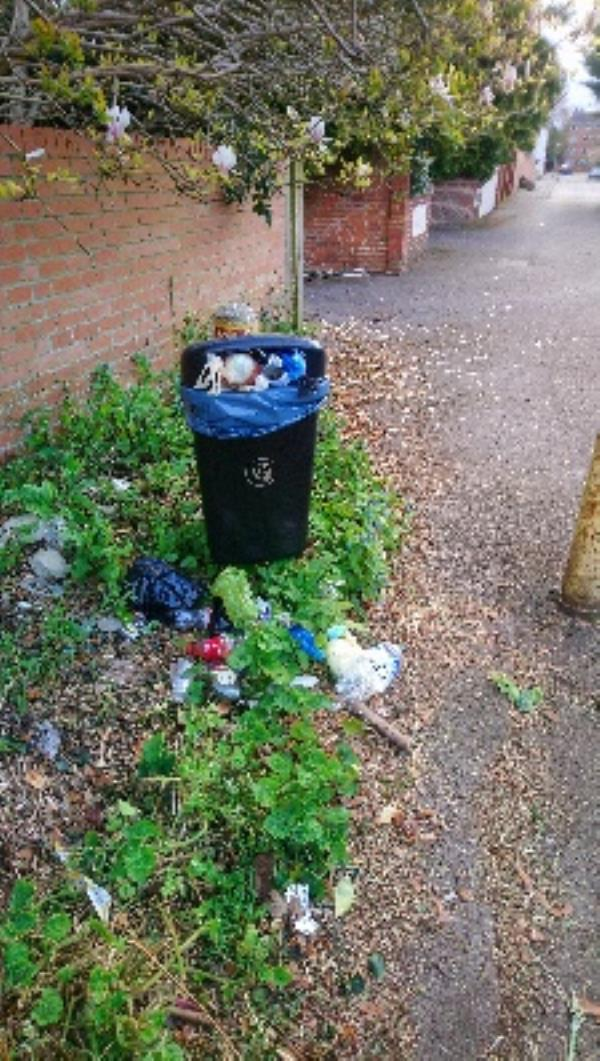 Another overflowing bin in Parkhouse Lane -24 Maldon Close, Reading, RG30 2DH