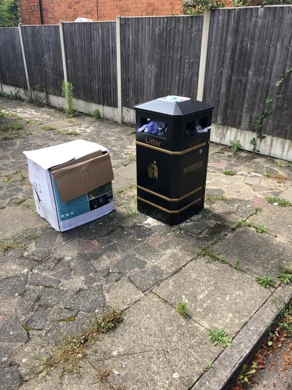 Bin overflowing a very smelly with lots of flies, litter now being dumped on the floor-237 Lynchford Road, Farnborough, GU14 6HF