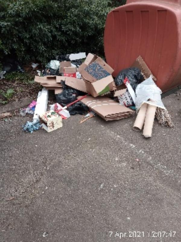 Large fly tip at rivermead bottle banks including 2 waste bins. Litter bin also overflowing. Have investigated please clear. -1 TESSA, Reading, RG1 8EQ
