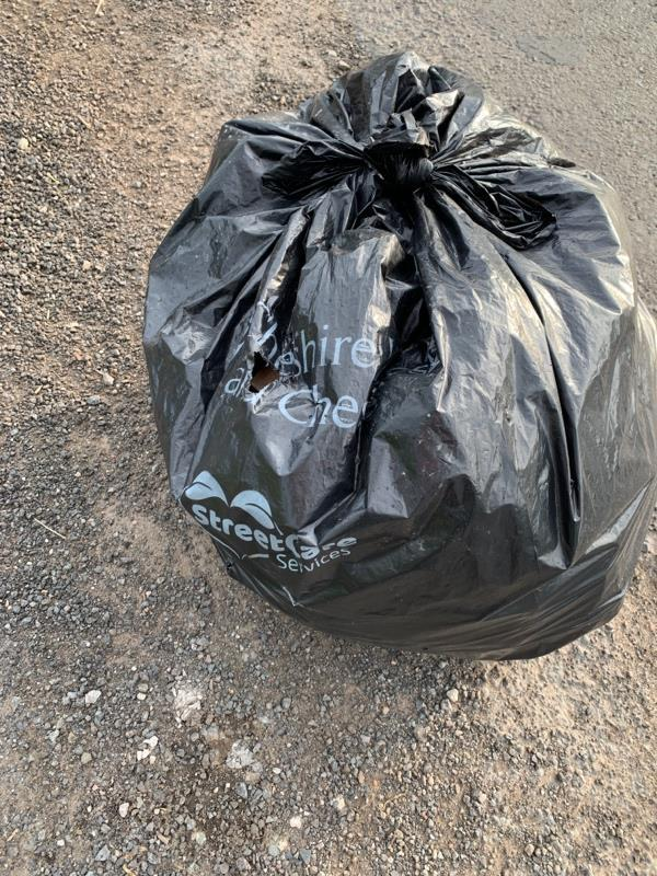 Two black bin bags in lay-by then on opposite side of road a trail of littler through the grass  image 1-Oakfield House, Chester Zoological Gardens, Caughall Rd, Chester CH2 1LH, United Kingdom