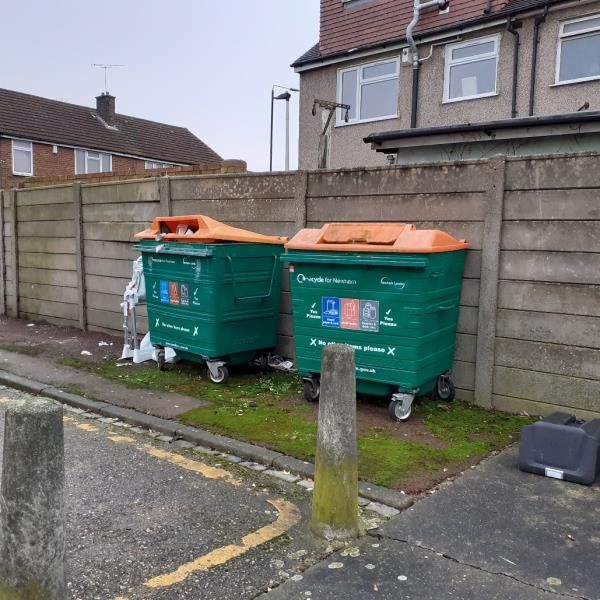 items fly tipped by recycling bins on the paving-7 Globe Road, London, E15 1RF