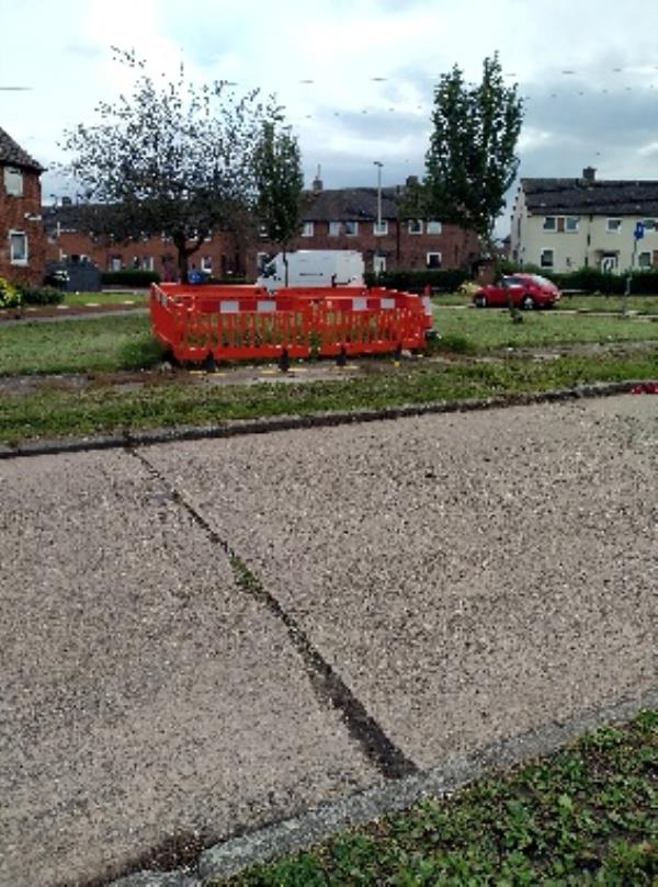 barriers have been here for months. works look as though they were completed long ago but never tidied up, to mud in footpath etc.-27 Hassal Road, Leicester, LE3 6QU