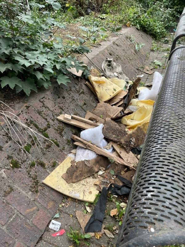 Fly tipped foam and fabric. In the small park between Boxley Street and Hanameel Street.  image 1-1 Boxley St, London E16 2AN, UK