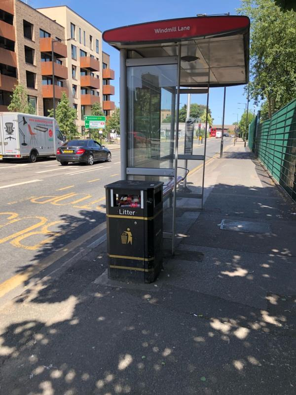 Bin full at windmill lane bus stop towards Stratford -Chobham Farm Development Site Leyton Road, London, E15 1QJ