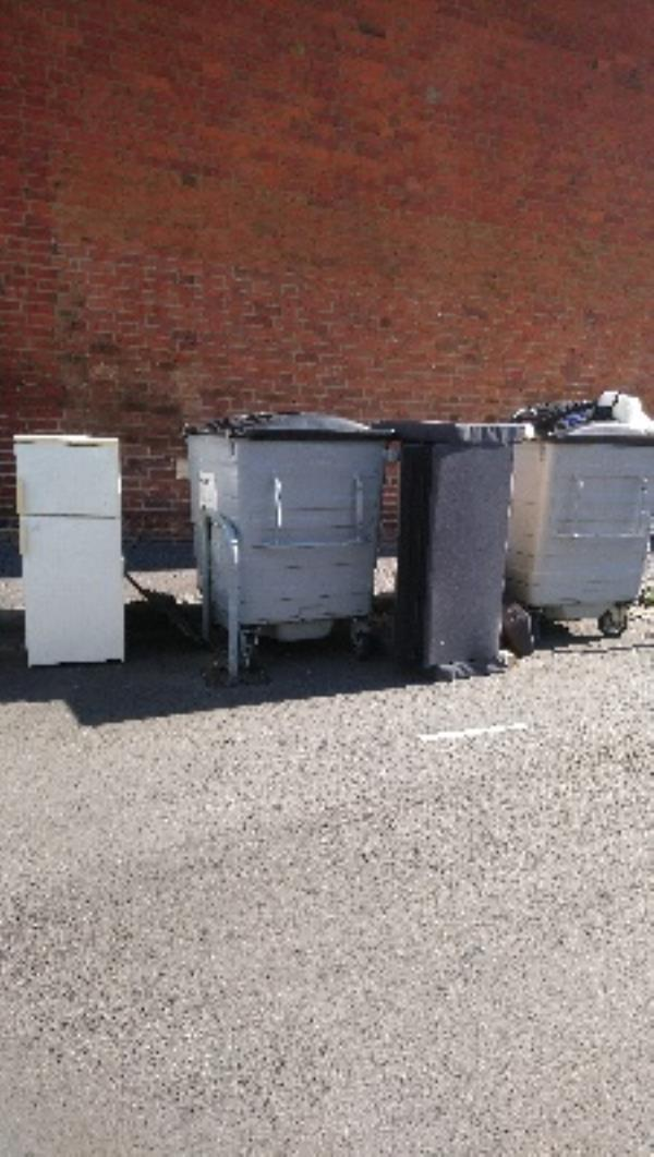 Flytipping, fridge freezer and bed settee at residential bins. Anstey Road. -Castle Street, Reading, RG1 7TH
