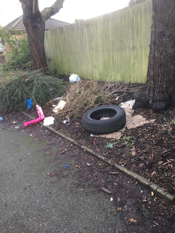 Tyre, bag of rubbish, litter-7 Bowen Street, Wolverhampton, WV4 6ES