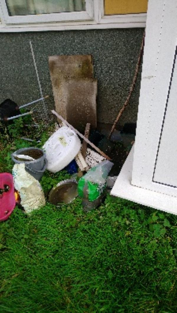 Fly tip in ground floor comm area and rear garden of 56-62 Bamburgh close image 1-7 Bede Walk, Reading RG2 7UE, UK