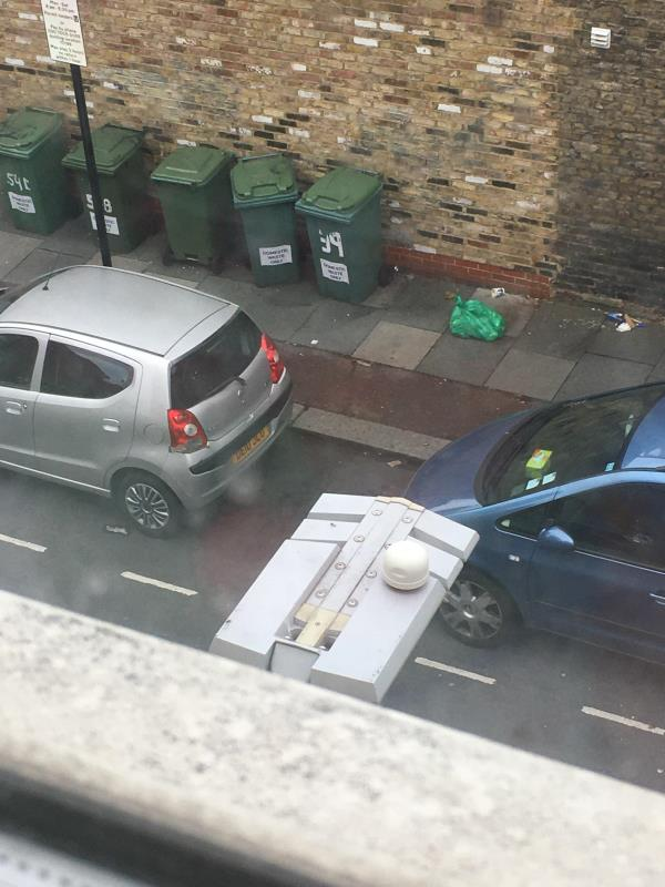 Bins emptied only a couple of hours ago and already a green bag beside bins-37/39 Plashet Grove, East Ham, E6 1AP side of coffee hut