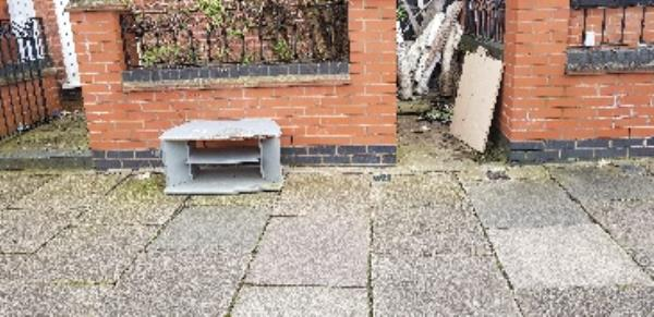 tv unit fly tipped on the pavement-32 Turner Road, Leicester, LE5 0QA