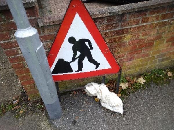 traffic sign be here for Mts, not be collected by the road works  contractor. have taken it. -137 Cressingham Road, Reading, RG2 7RZ