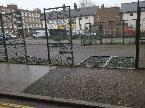 These two fencing panels have been knocked down and laying about for several weeks now.  Can they bee taken away or put back up?-10 Somerford Grove, London, N16 7TL