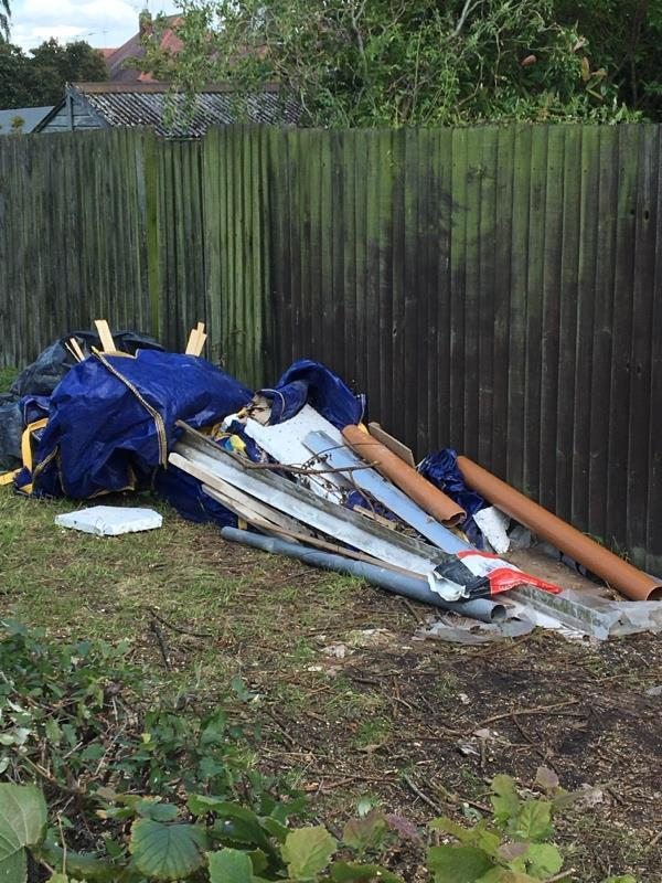 Obviously had some work done and not disposed of rubbish in a responsible way. Why should neighbours have to see this?-1 Frampton Avenue, Leicester, LE3 0SG