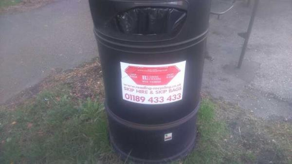 fly-poster on the bin -217 Peppard Road, Reading, RG4 8TS
