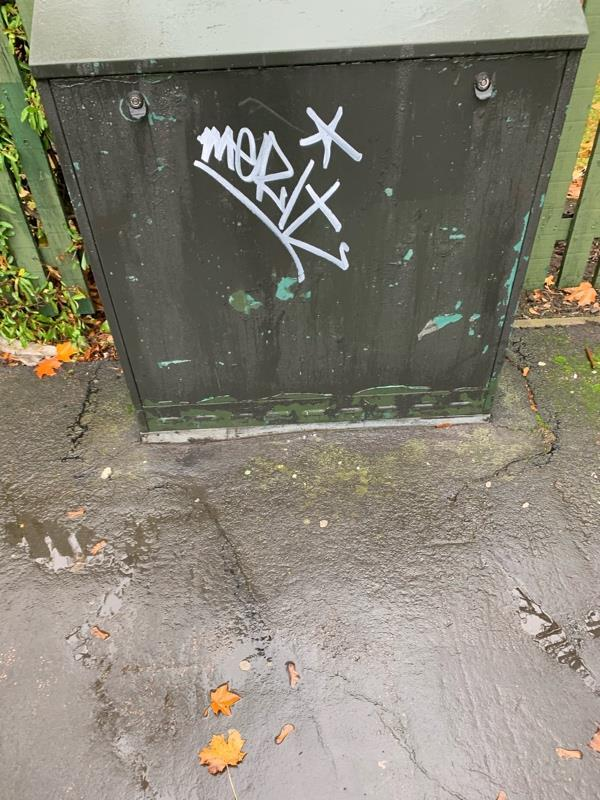 Graffiti tagging on exchange box Dunkirk street -47 Market Street, Leicester, LE1 6DP