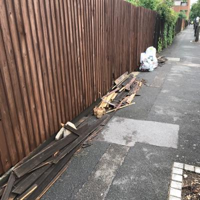 Fencing.with nails hanging out unsafe for children. It has been here for around 2 weeks-9 Swinnerton St, London E9 5TN, UK