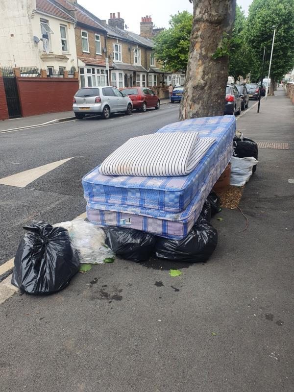 2 mattresses and rubbish dumped on pavement by tree -61 Lansdown Road, Green Street East, E7 8NF