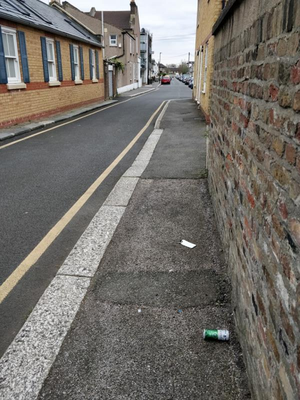Alcohol related litter in Albert Square off Buxton Road E15-84 Buxton Road, London, E15 1QX