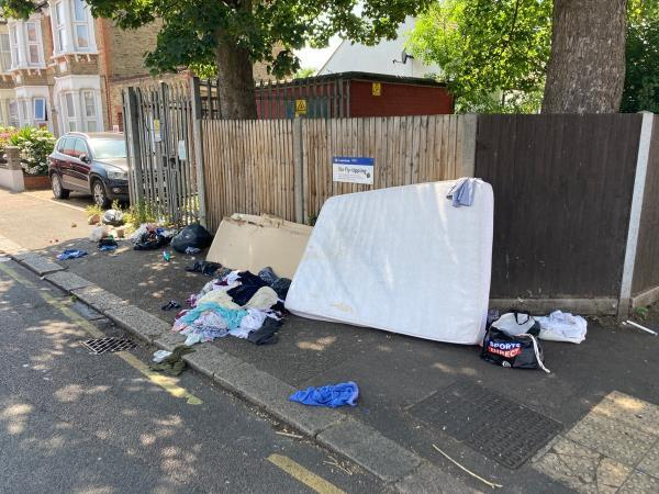 Huge amount of mess left… right next to 'no fly tipping' sign!-122 Laleham Road, London, SE6 2AD