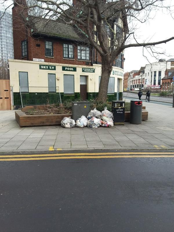 Litter and Bin Bags left at this location-Eleanor Rosa House, 2 Lett Road, London, E15 1AJ